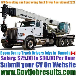 G V Consulting and Contracting Boom Crane Truck Driver Recruitment 2021-22