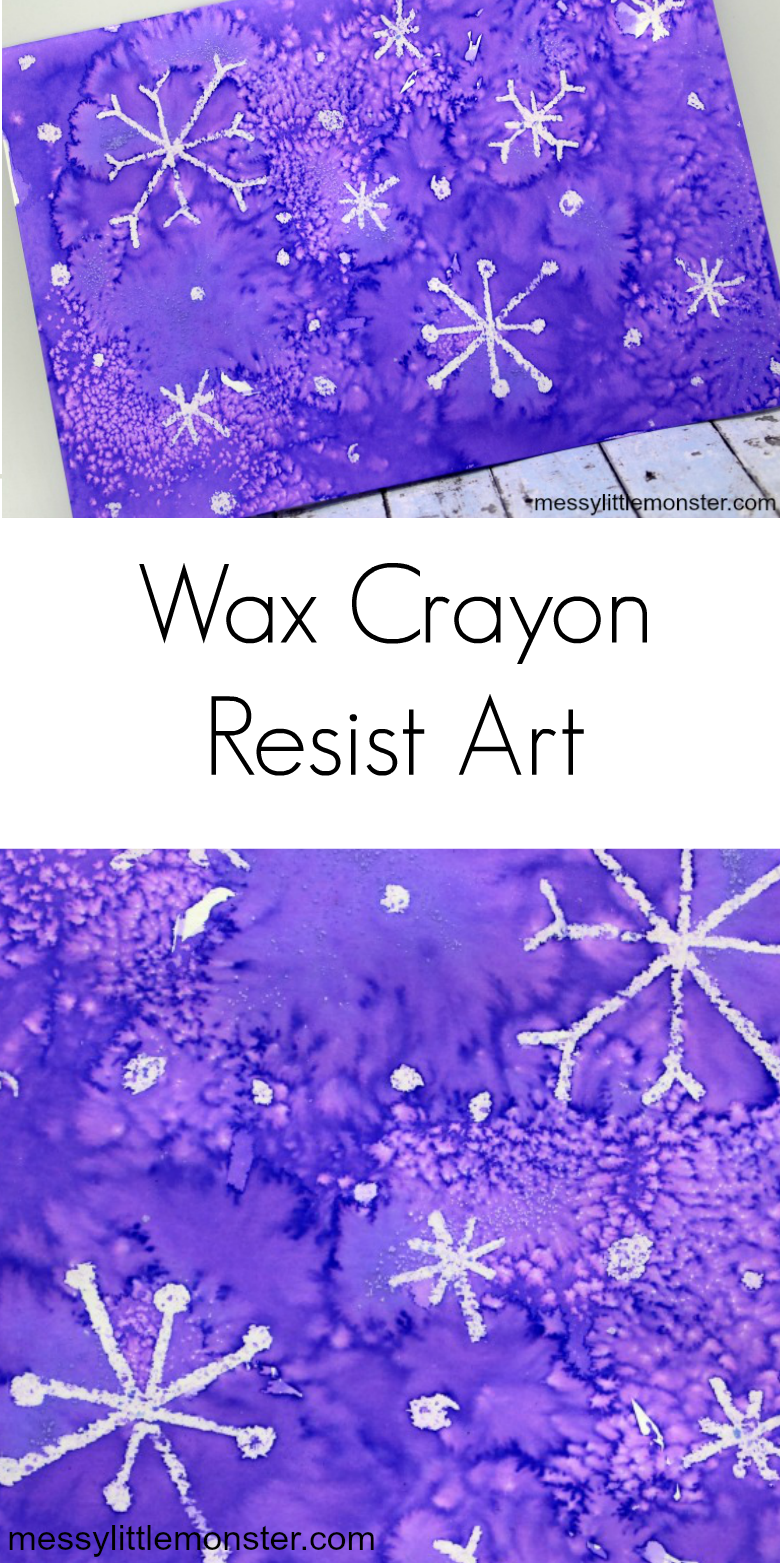 Wax resist painting. Snowflake art using a crayon resist art technique.