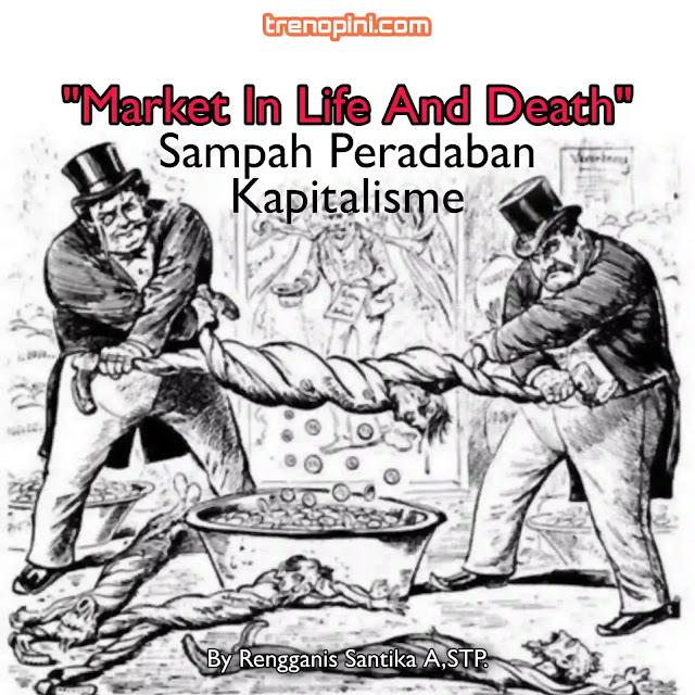 """Kapitalisme berbasis ribawi, ibarat kapitalisme itu tubuh, maka darahnya adalah riba. Ekonomi yang nihil akan filosofi menebar sejahtera bagi semua, tak dikenal mekanisme shodaqoh juga infaq dan zakat, sebab begitulah titah """"nabinya"""" kapitalisme Adam Smith yang konon adalah seorang gerejawan, bahwa dengan pengeluaran sekecil-kecil diperoleh untung sebesar-besarnya. Untung, uang dan materi itulah orientasinya."""