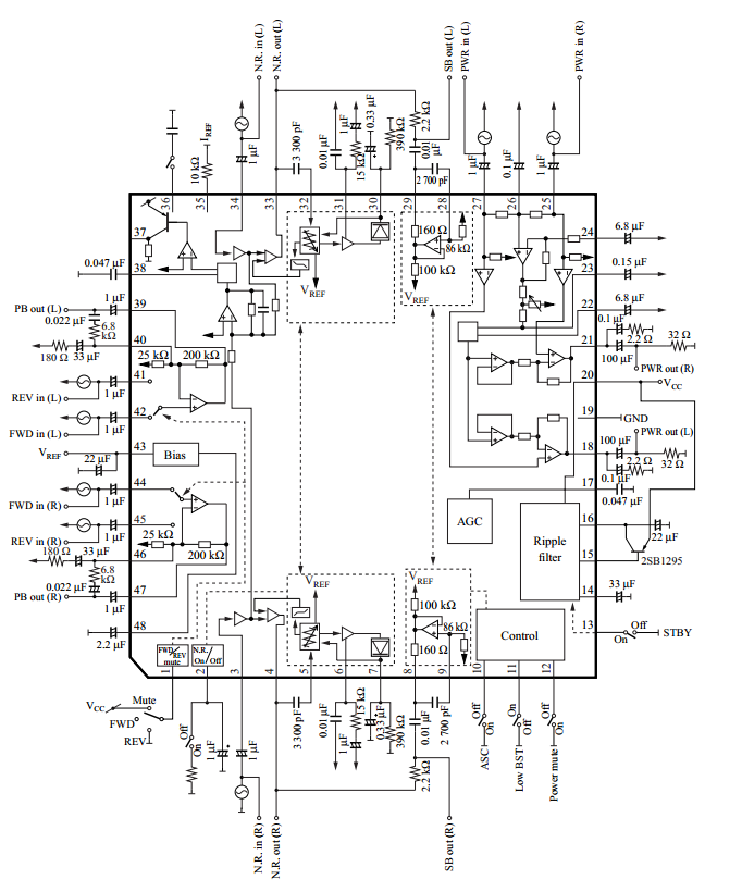 Audio signal processing IC for 1.5 V headphone stereo