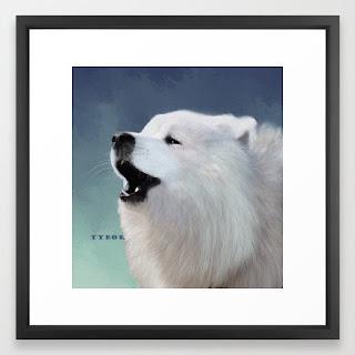 tybor-howling-samoyed-framed-prints