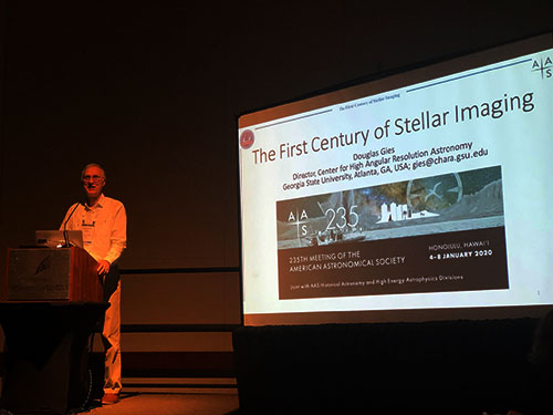 Douglas Gies reviews the first century of stellar Imaging at AAS 235 (Source: Palmia Observatory)