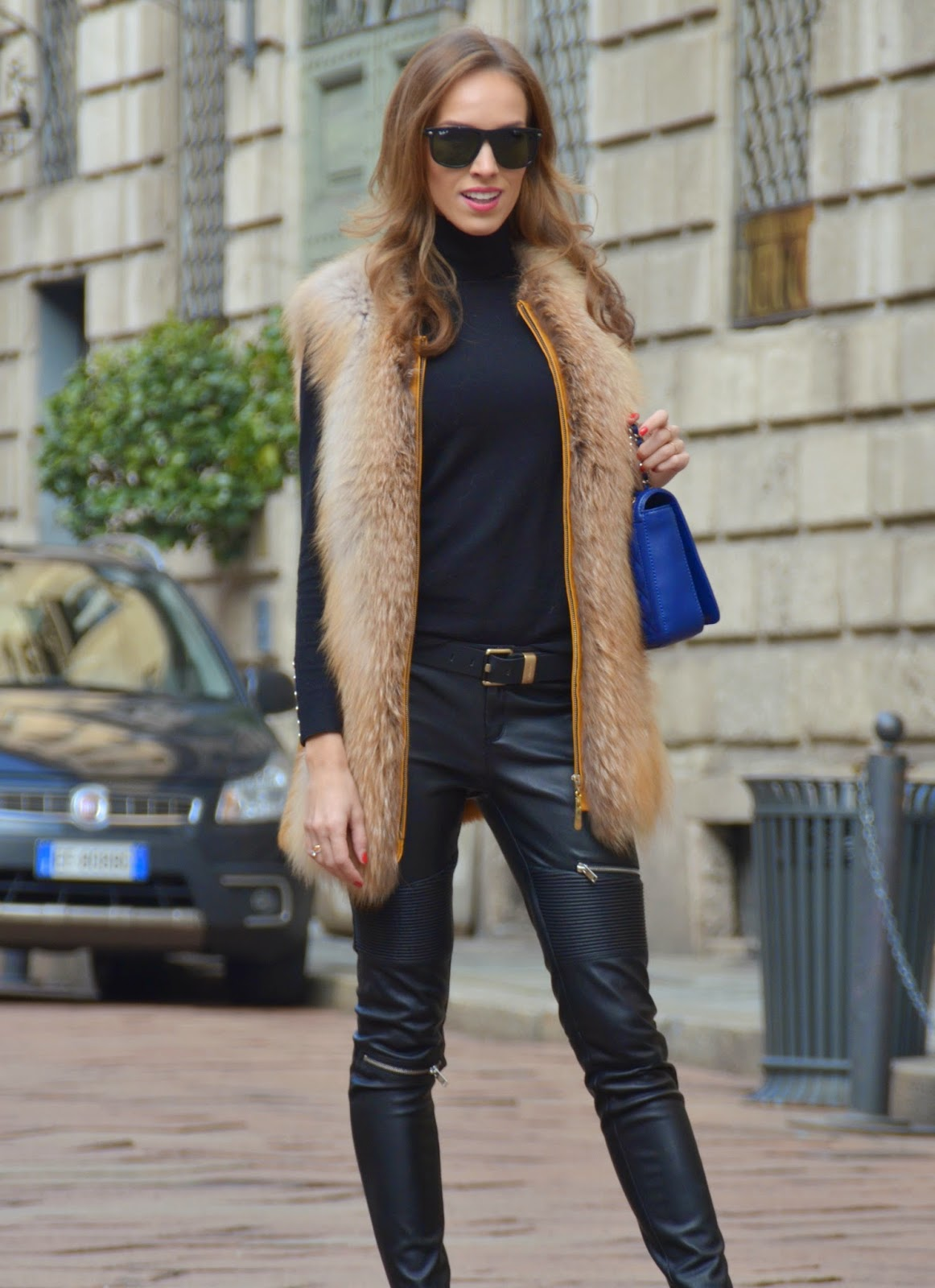 ray-ban-sunglasses-fur-vest-leather-zipper-trousers-calvin-klein-belt