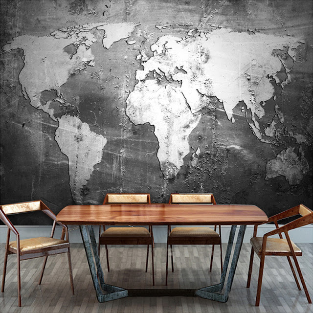 World Map Wall Mural Wall Wallpaper Black And White
