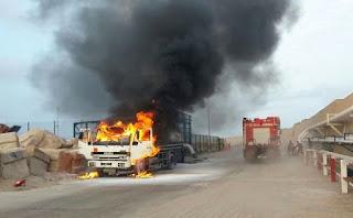 بنزرت: حريق يأتي على شاحنة محملة بأكثر من 150 أعلاف  بالة قرط