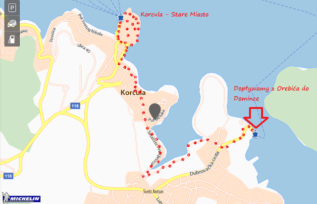 Trasa spaceru z promu Jadrolinija w Domince do miasta Korcula