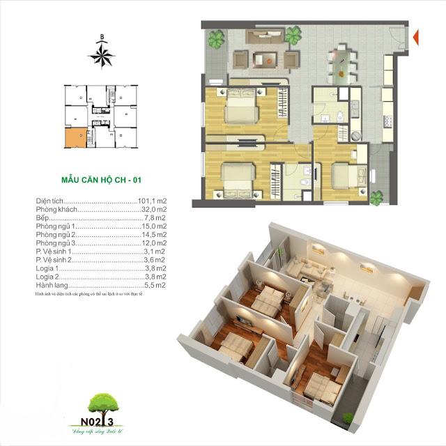 Thiết kế căn hộ số 01 chung cư N02T3 Ngoại Giao Đoàn