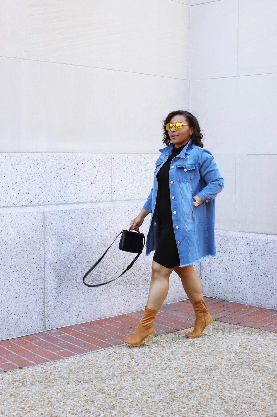 An Oversized Denim Jacket, denim jacket, oversized jacket trend, jean jacket, oversized, colored sunglasses, rainbow jackets, sock booties, clear heel booties, spring outfits, spring trends, sock boots, how to style an oversized jacket