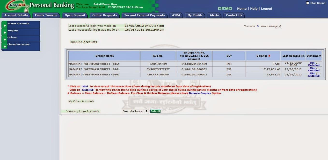 corporation bank new internet banking login
