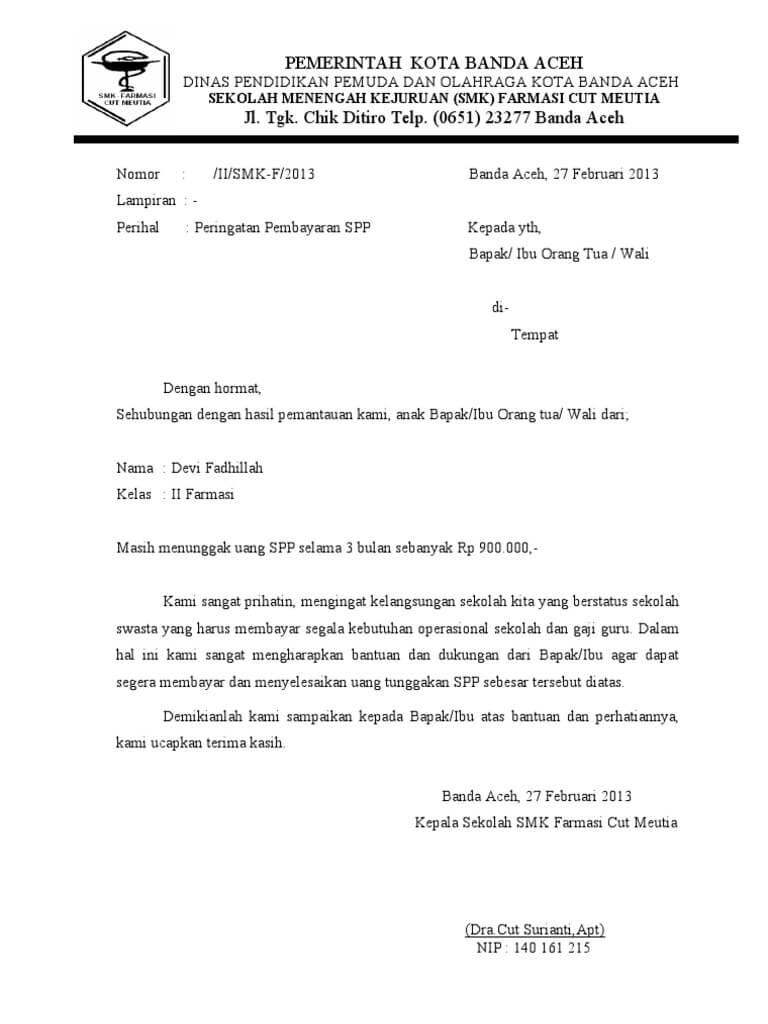 contoh surat teguran keterlambatan pembayaran