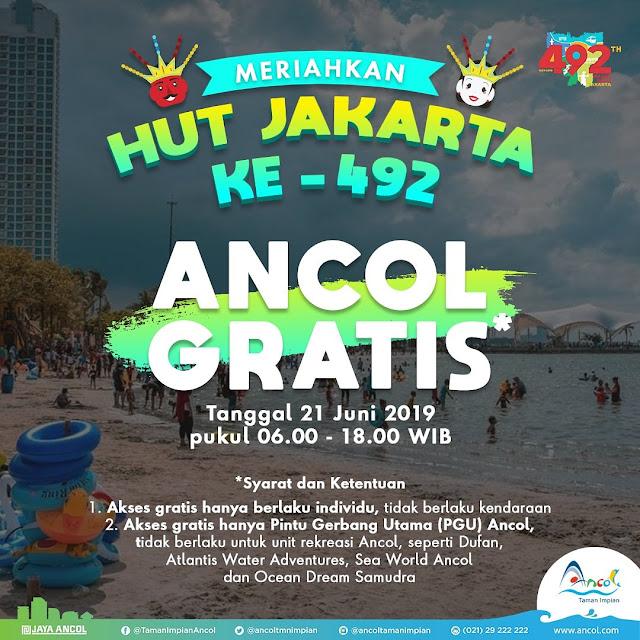 #Ancol - #Promo ANCOL GRATIS di HUT JAKARTA ke 492 (21 Juni 2019)