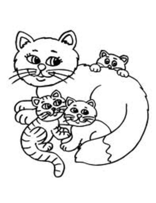 8-Cat and fish-copyright L.A. Vocelle, free coloring pages, cat ... | 650x500