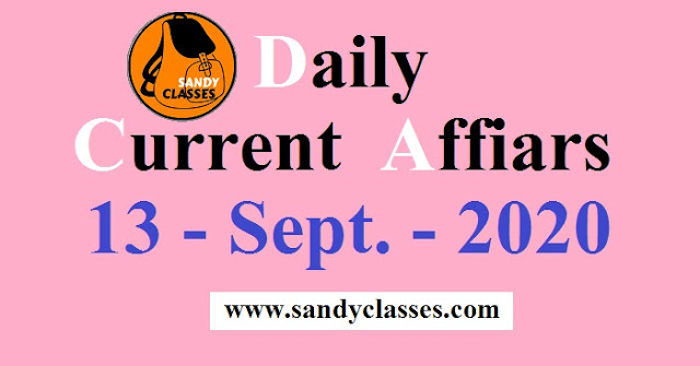 Daily Current Affairs in Hindi / English - 13 September 2020