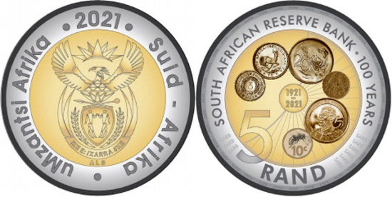 South Africa 5 rand 2021 - Centenary of the Reserve Bank