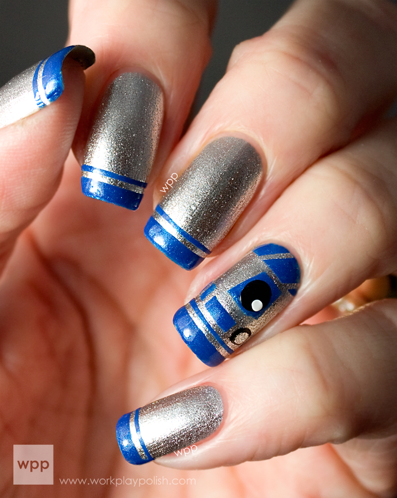 Star Wars R2-D2 French Manicure