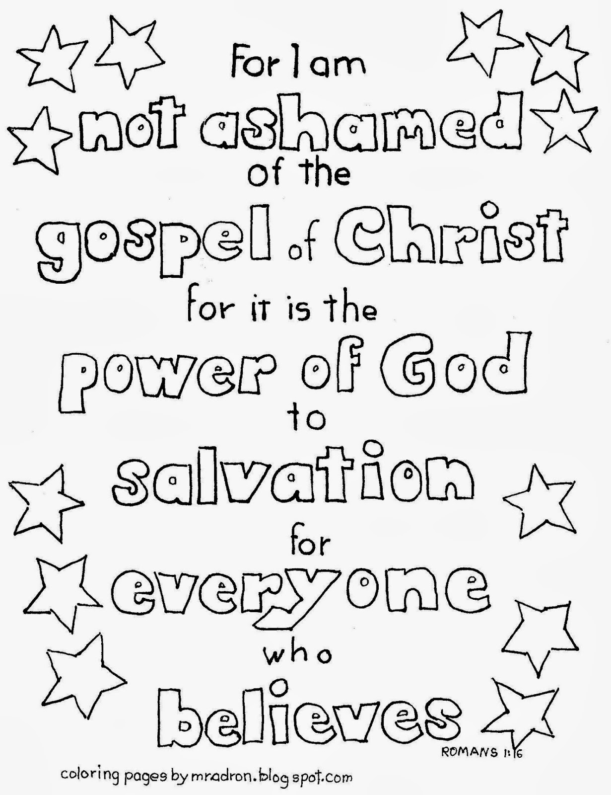 Coloring pages for preschoolers on salavation - Romans 1 16 I Am Not Ashamed Of The Gospel Coloring Page