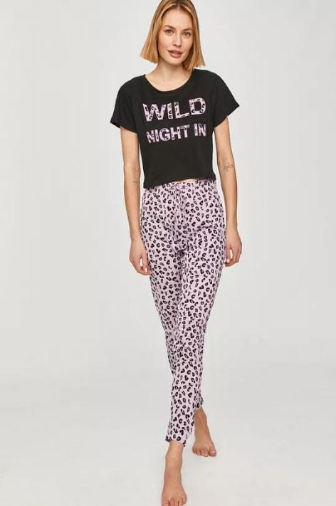 Pijama de dama negru cu alb cu imprimeuri