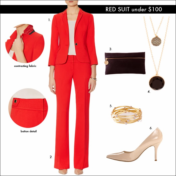 red suit, emma thompson red suit, suit under $100, budget friendly suit, suit for less, pendant necklace, the limited, sales, fashion, style