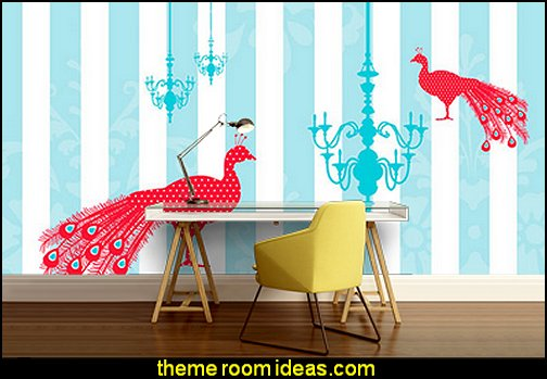 peacock wall murals decorating peacock theme bedrooms