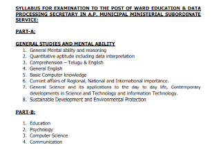 AP Ward Sachivalayam Ward Education & Data Processing Secretary Exam Syllabus