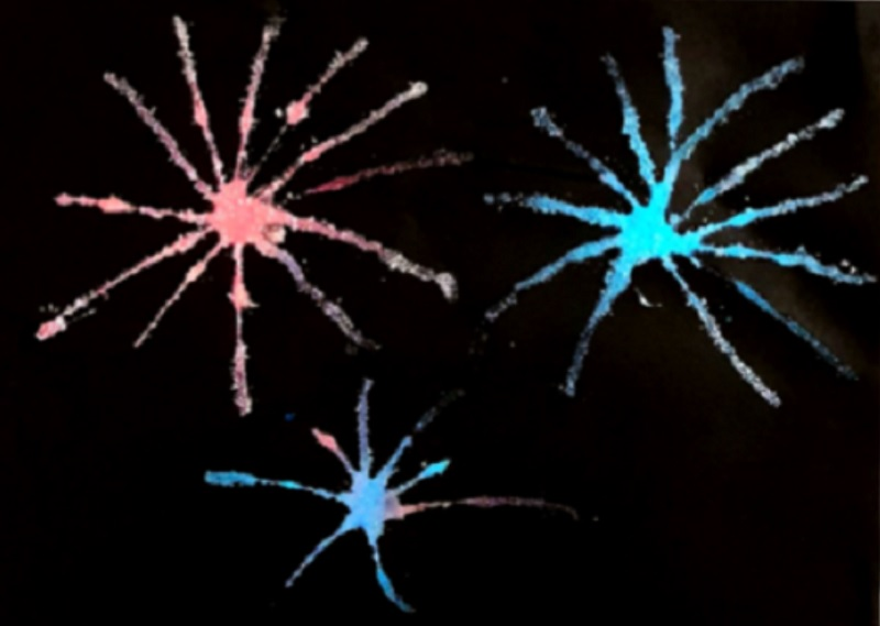 red and blue fireworks salt painting