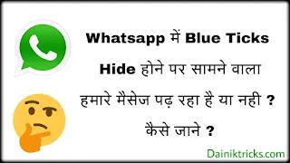 Whatsapp पर बिना Blue Ticks के कैसे जाने की सामने वाला हमारे मैसेज पढ़ रहा है या नही ?