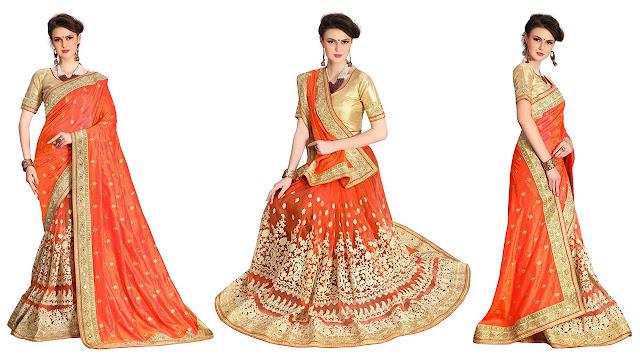 UJJWAL CREATION Embroidered Fashion Dupion Silk, Net Saree  (Orange)