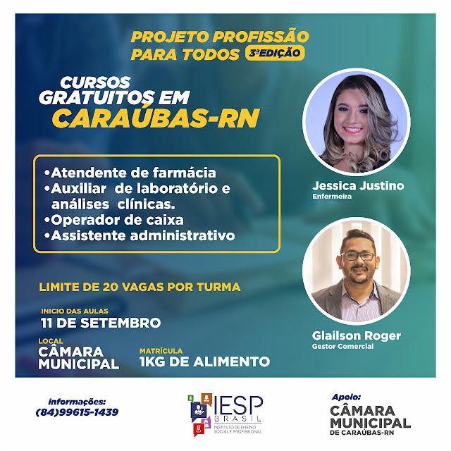 IESP Brasil em parceria com câmara de vereadores realiza curso gratuito em Caraúbas