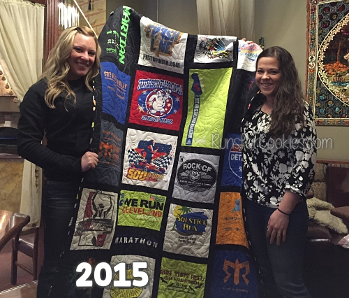 Me in 2015, after Becky presented me with my race t-shirt quilt