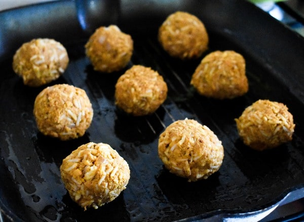 Step 9 - meatballs cooking in grill pan