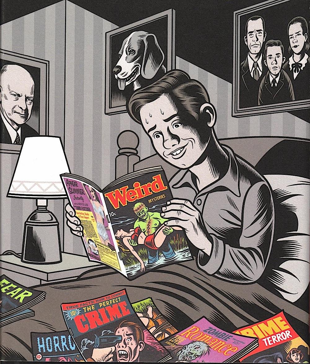 Charles Burns, a boy reading horror magazines