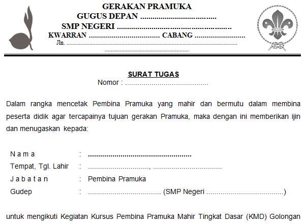 Contoh Surat Tugas Gudep Pramuka Oleh Kamabigus Dadang Jsn