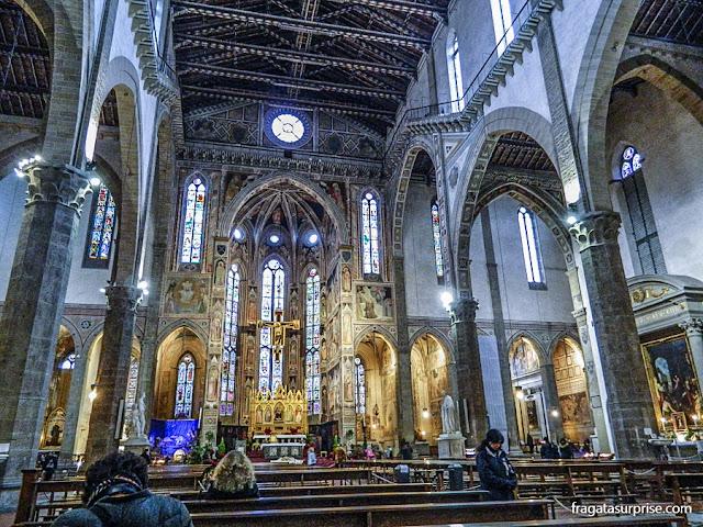 Florença - interior da Basílica de Santa Croce