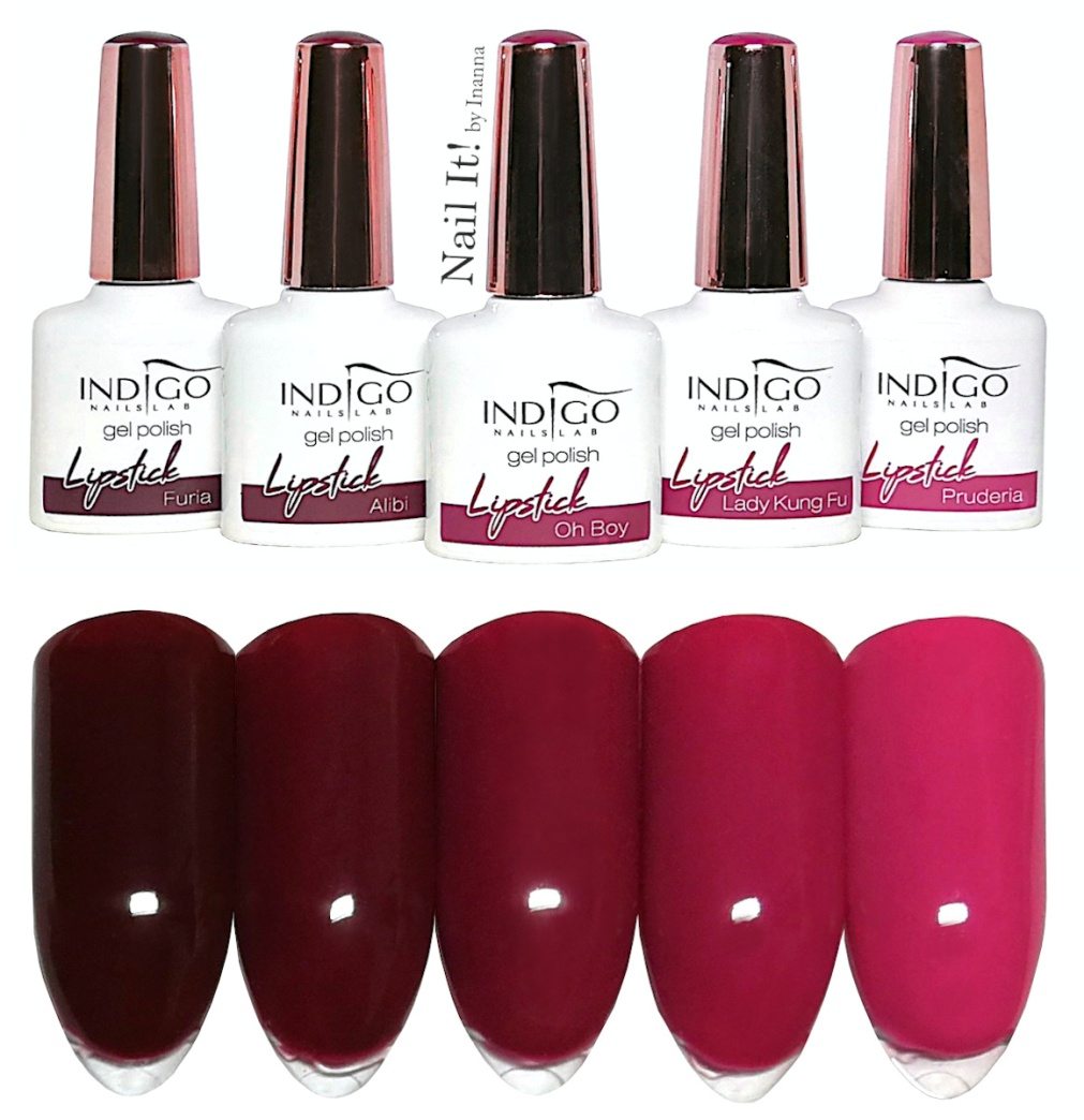 "Indigo Nails ""Lipstick 3.0"" Collection - swatches of all 5 colors"