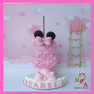 Vela personalizada ratinha rosa