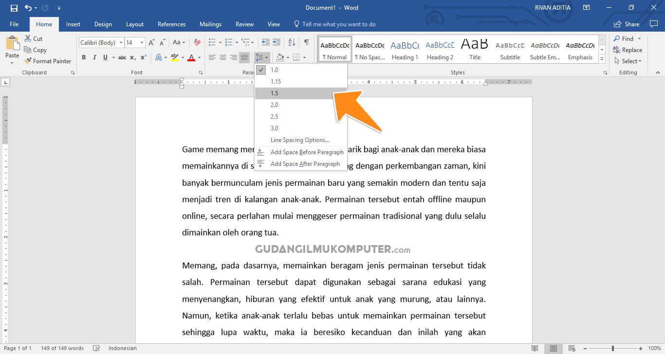 Cara Mengatur Spasi Antar Baris di Microsoft Word