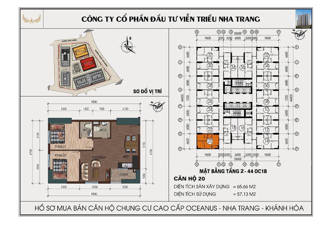 Sơ đồ căn hộ số 20 tòa OC1B Viễn Triều Nha Trang
