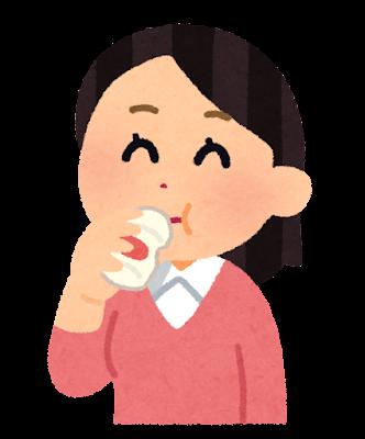 乳酸菌飲料を飲む人のイラスト(女性)