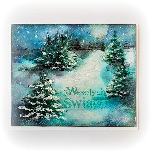 kartka świąteczna, zima, akwarela