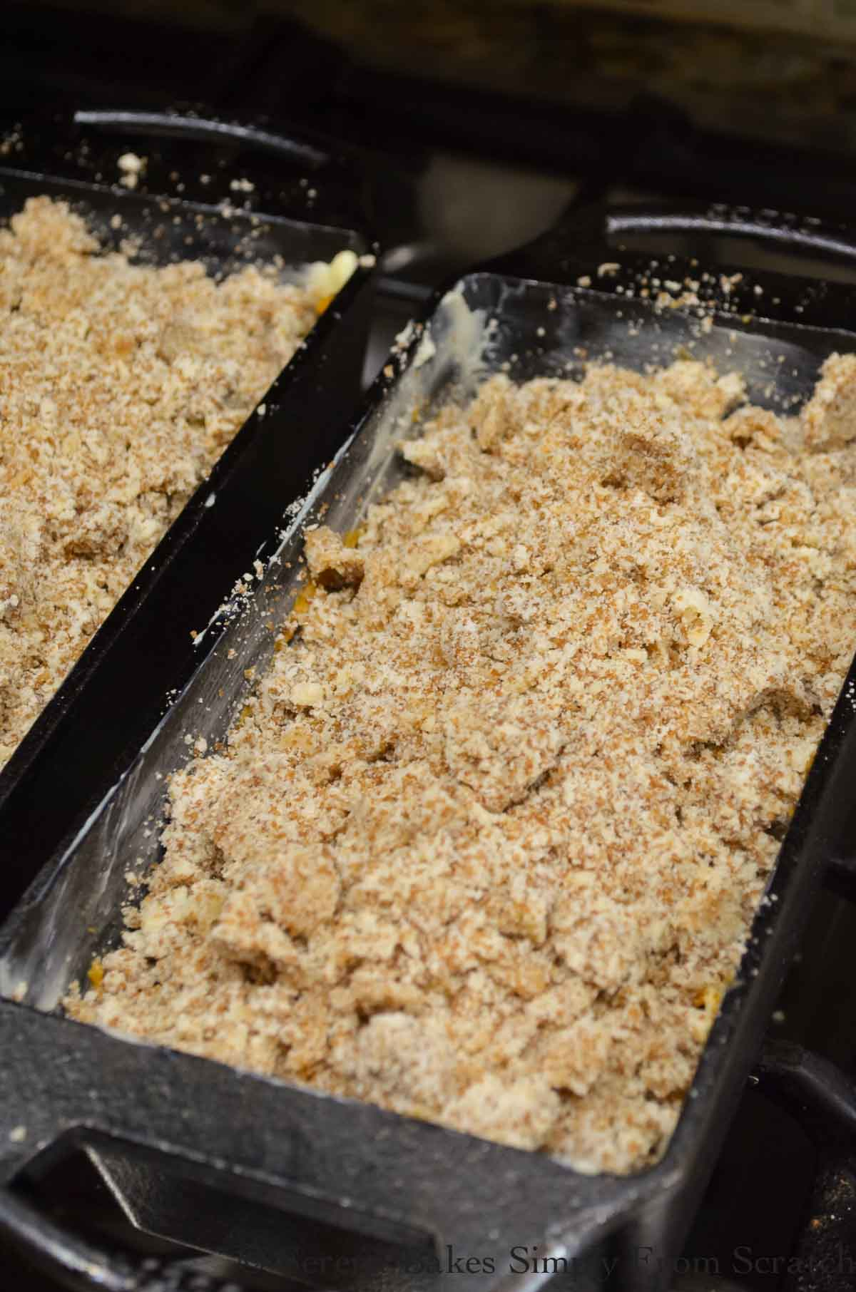 Streusel topping over the top of Pumpkin Bread batter.