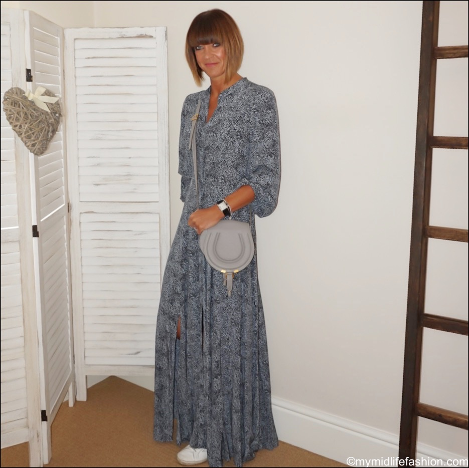 my midlife fashion, Somerset by Alice temperley leopard print maxi dress, Chloe marcie small cross Body bag, golden goose superstar low top leather trainers