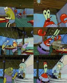 Polosan meme spongebob dan patrick 108 - tuan krab histeris banting pintu teriakin pelanggan
