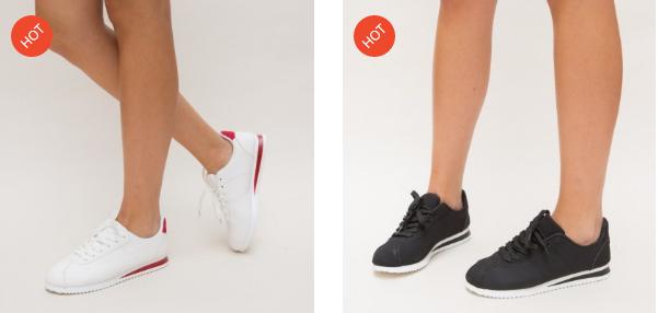 Adidasi ieftini de calitate pentru femei din piele eco negri, albi