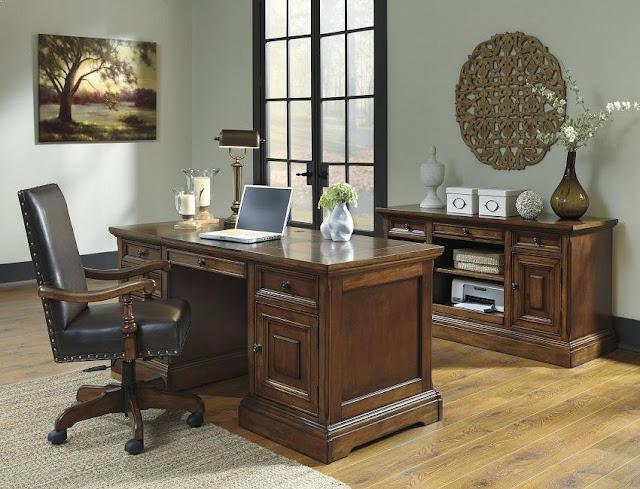 best buy solid wood office desk Ashley furniture set for sale online