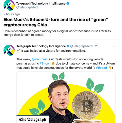 """Growing interest in moving to """"environmentally greener"""" cryptocurrencies (Source: @Telegraph Tech)"""