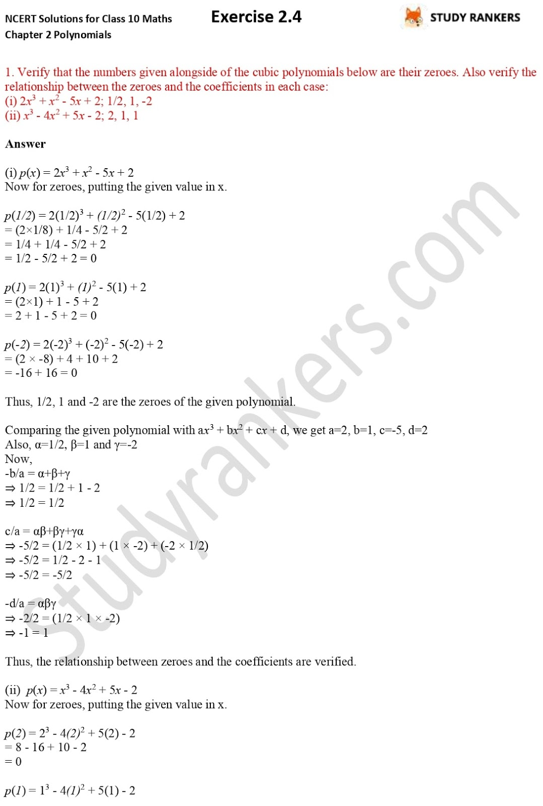 NCERT Solutions for Class 10 Maths Chapter 2 Polynomials Exercise 2.4 1