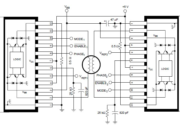 stepper motor controller using by a3952s circuit diagram