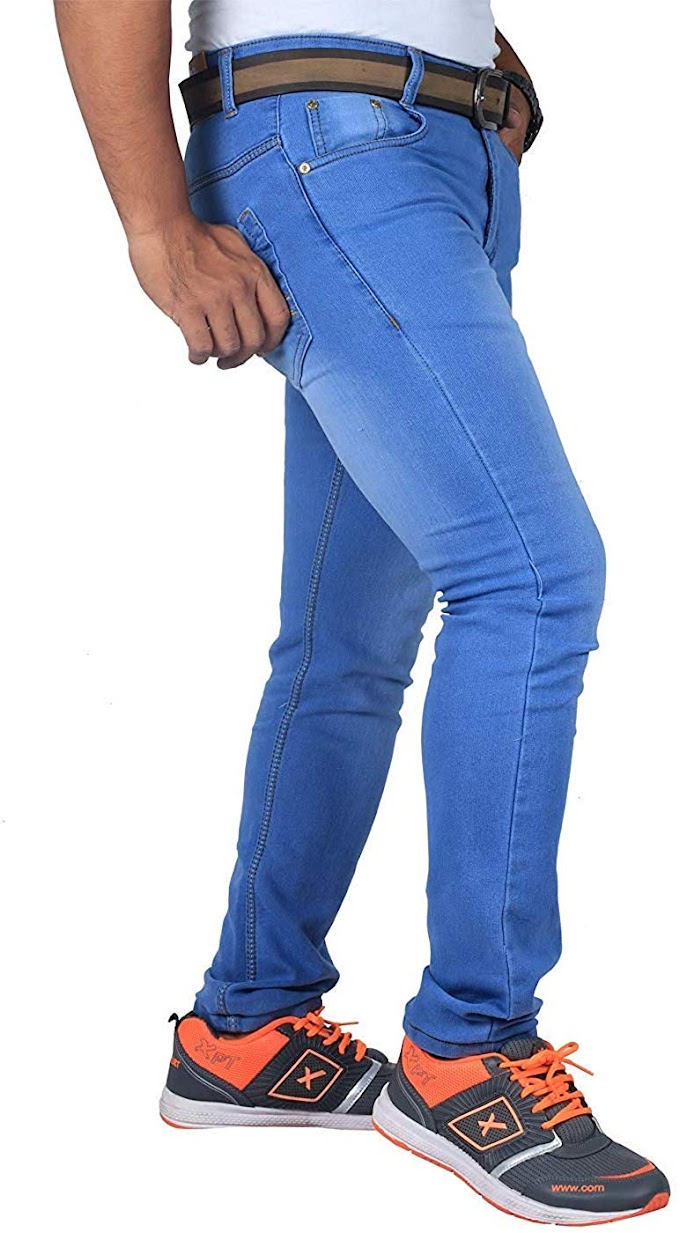 Mens Stretchable Fabric Light Blue Slim Fit Jeans
