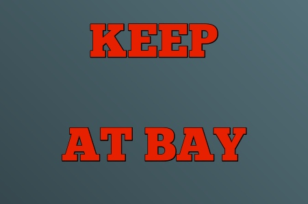 KEEP AT BAY and HOLD AT BAY are two renditions of an idiom that has been in use since the mid-1700s.