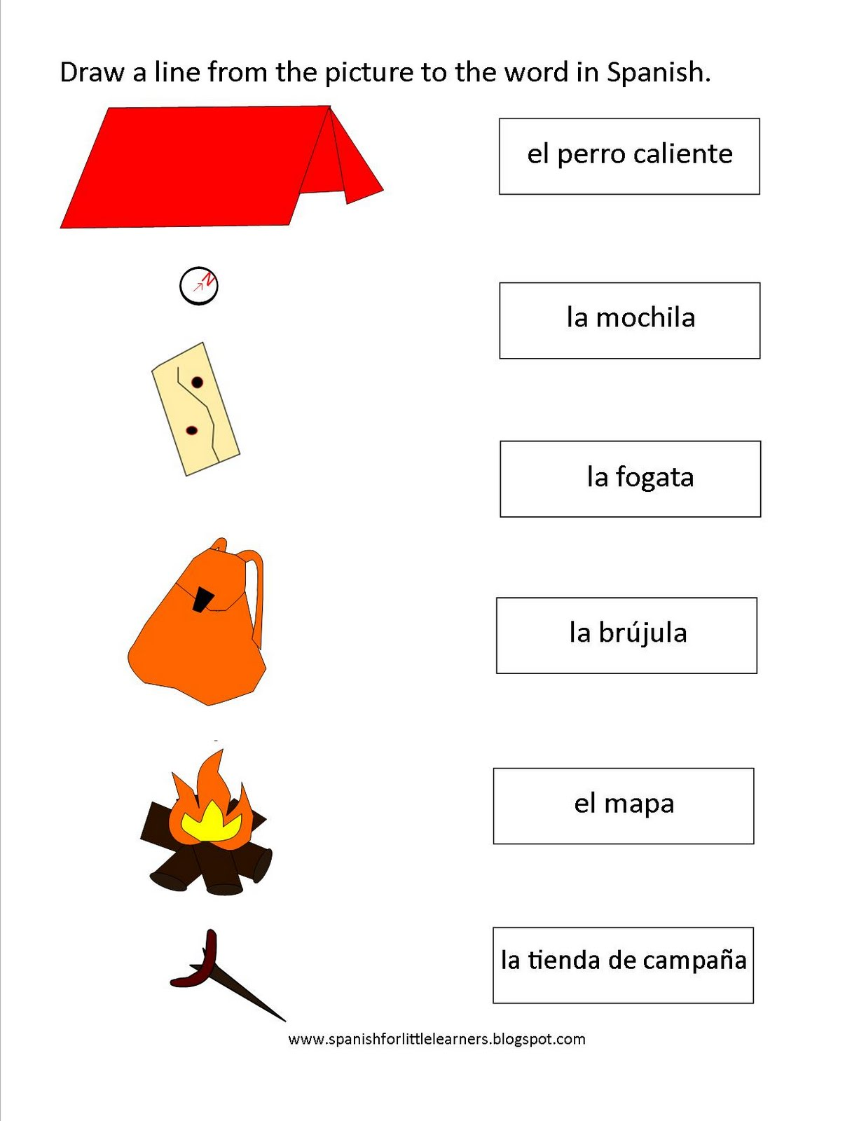 Spanish For Little Learners Camping Worksheet For Spanish